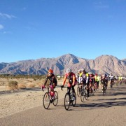 Gary Tingley (front right) leading the ride through Borrego Springs, CA